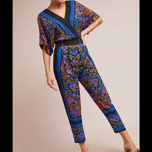 Anthropologie ett twa scarf print jumpsuit size 6